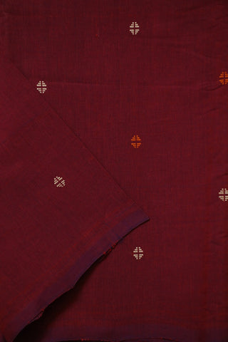 Purplish Maroon Handwoven Buta Cotton Fabric