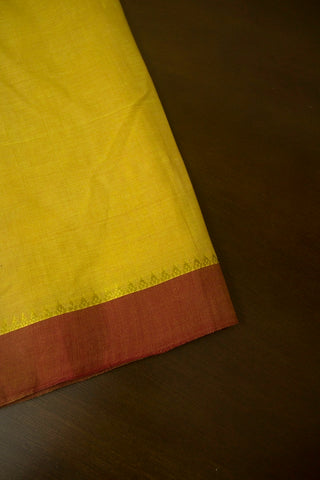Light Mustard Yellow with Maroon Handwoven Fabric