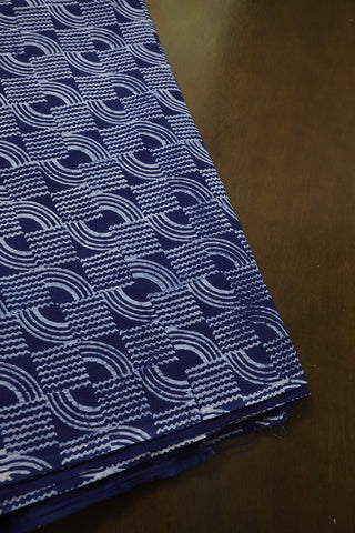 Subdued Blue with Off White Block Printed Fabric