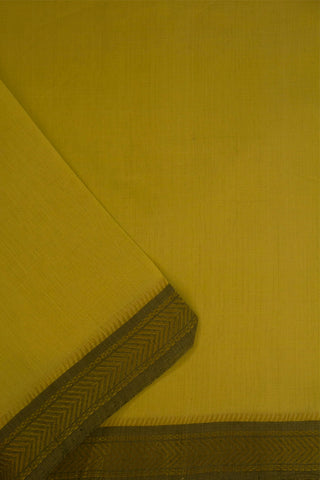 Light Lemon yellow Zari Border Handwoven Cotton Fabric
