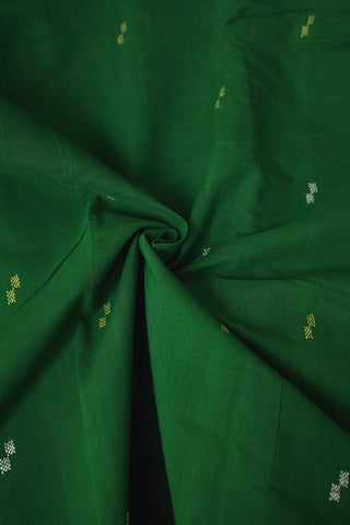 Green with White Butta Handwoven Cotton Fabric