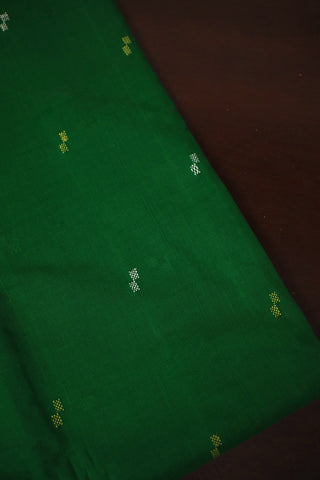 Green with White Butta Handwoven Cotton Fabric-0.9m