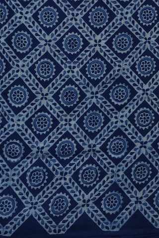Indigo Checks Block Printed Fabric