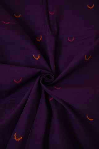 Moon Buta in Purple Handwoven Cotton Fabric
