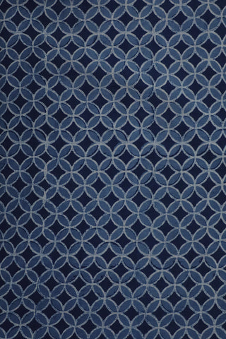 Indigo with Off White Circles Block Printed Fabric