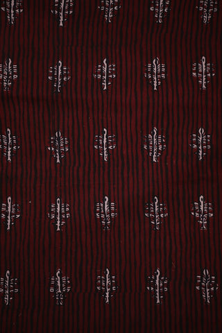 Lines-Maroon and Black Bagh Print Cotton Fabric-1 m