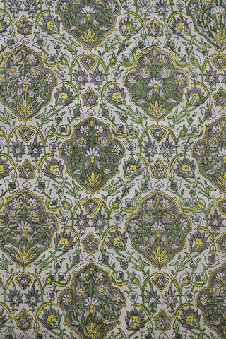 Grey with Yellow Sanganeri Cotton Fabric-0.8 m