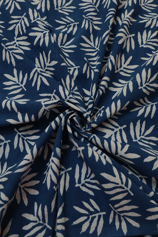Off White Leaves Block Printed Fabric