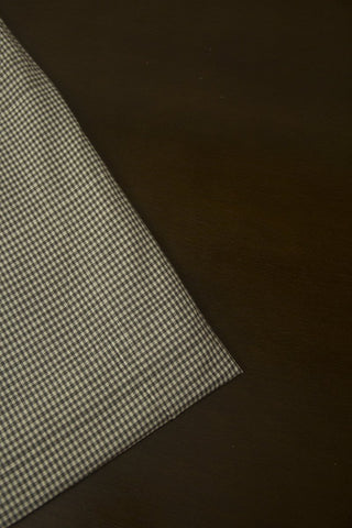White and Black Fine Checks Handwoven Cotton Fabric