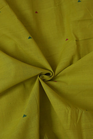 Yellowish Green with Triangle Butta Handwoven Cotton Fabric