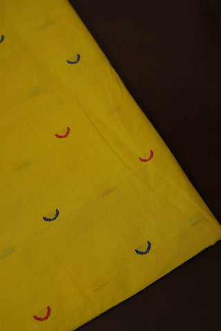 Yellow with Moon Butta Handwoven Cotton Fabric