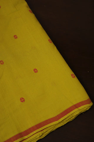 Yellow with Pink Butta Handwoven Cotton Fabric