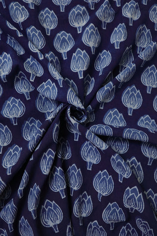 Indigo Lotus Bud Floral Block Printed Fabric