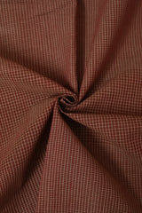Brown Small Checks Handwoven Cotton Fabric