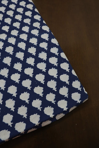 Indigo with Off White Block Printed Fabric