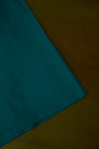 Peacock Blue Yarn Dyed Handwoven Cotton Fabric - 1m