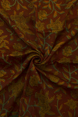 Maroon with Green Floral Print Modal Silk