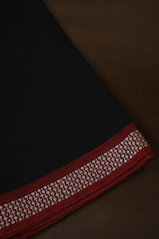 Black with Maroon Thread Border Handwoven Cotton Fabric