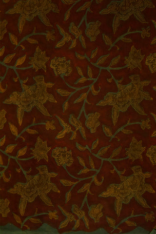 Maroon with Green Floral Print Modal Silk-1 m