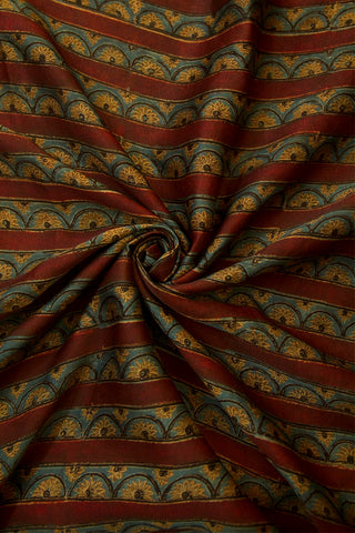 Maroon Lines with Fenugreek Small Flowers Modal Silk Fabric