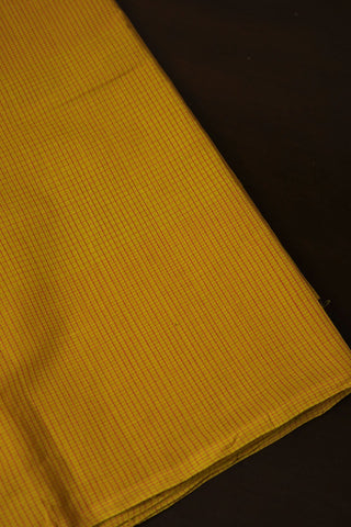 Yellow with Pink Small Checks Handwoven Cotton Fabric