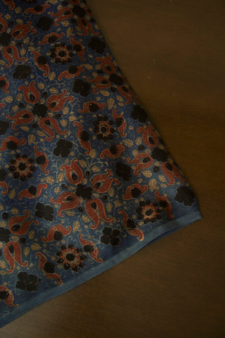 Indigo with Maroon and Black Floral Modal Silk Fabric