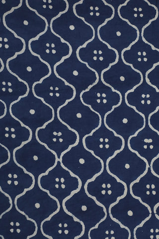 Faded Indigo Blue Block Printed Fabric