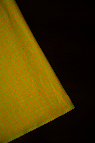 Yellowish Green Subtle Stripes Handwoven Cotton Fabric