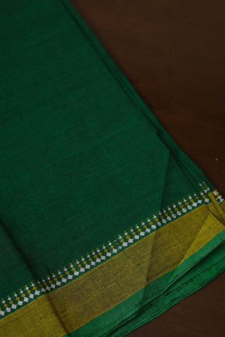 Green with Yellow Border Handwoven Cotton Fabric