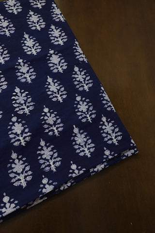 Dark Indigo Blue Floral Block Printed Fabric