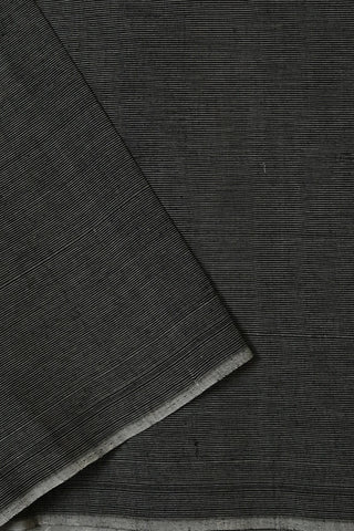 Black with White Pin Stripes Handwoven Cotton Fabric-0.5 m