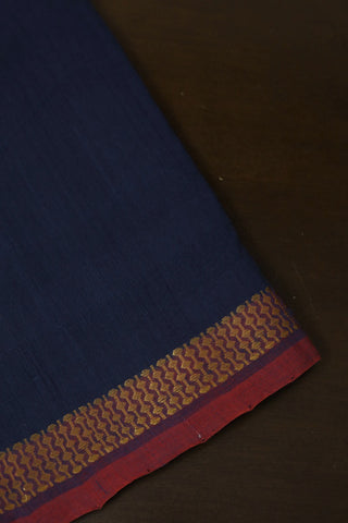 Subdued Indigo Blue with Zari Border Handwoven Cotton Fabric