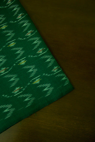 Dark Green Ikat Cotton Mercerized Fabric
