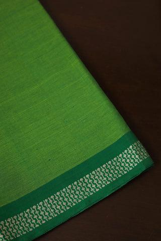 Double Shade Green Handwoven Bordered Cotton Fabric