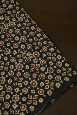 Dark Grey with Maroon Circles and Stars Ajrak Cotton Fabric