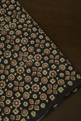 Dark Grey with Maroon Circles and Stars Ajrak Cotton Fabric-1.6m