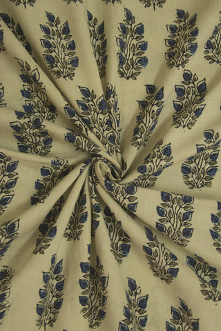 Off White with Indigo Leaves Block Printed Ajrak fabric