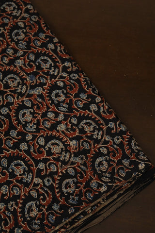Black with Brown Ajrak Cotton Fabric-1 m