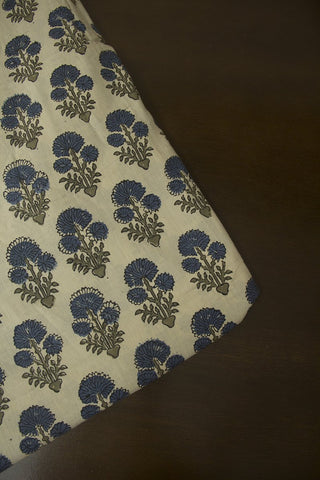Indigo Daisy Flower Block Printed Ajrak fabric