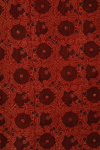 Maroon with Black Floral Ajrak Cotton Fabric