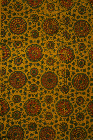 Maroon with Green Circles Block Printed Ajrak fabric