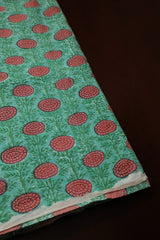 Green with Peach Flower Sanganeri Block Printed Cotton Fabric