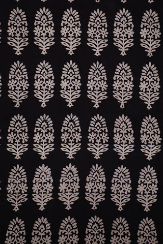 Black with Red Border Bagh Print Cotton Fabric-0.8 m