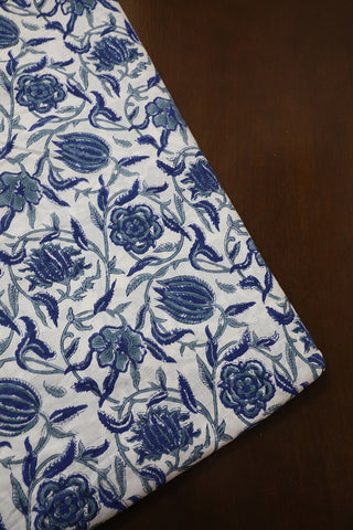 White with Blue Floral Sanganeri Cotton Fabric