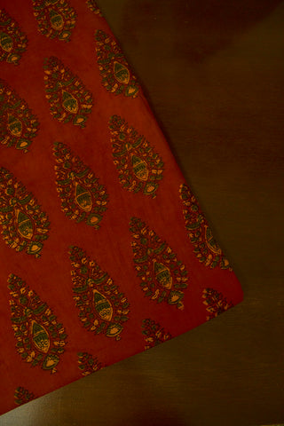 Rust Red with Green Block Printed Ajrak fabric