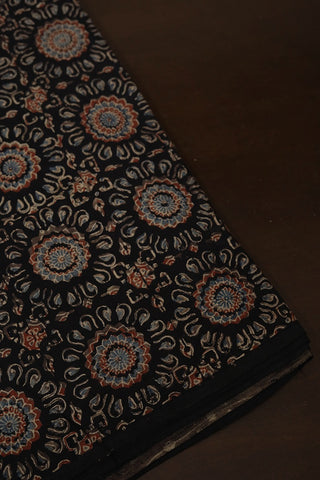 Black Intricate Floral Ajrak Cotton Fabric
