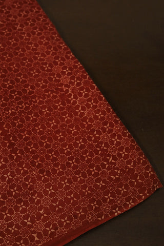Maroon with Beige Block Printed Ajrak Cotton Fabric