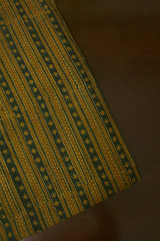 Dark Green with Orange Block Printed Ajrak fabric