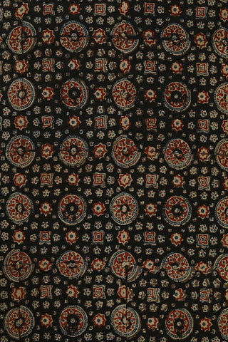 Black with Rust Red Circles Ajrak Cotton Fabric