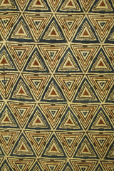 Brown with Indigo Triangles Block Printed Ajrak fabric